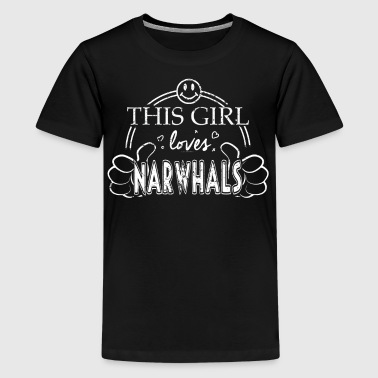 Collegiat Zoology Shirt Girl Loves Narwhals Shirt - Kids' Premium T-Shirt