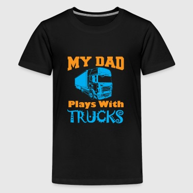 kids gift dad plays with trucks - Kids' Premium T-Shirt