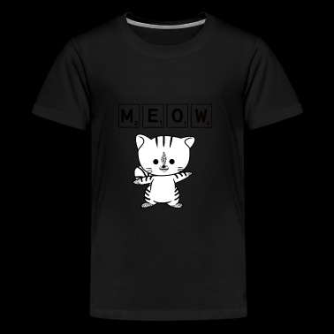 Scrabble Cat Meow - Funny Nerd Cat Scrabble - Kids' Premium T-Shirt