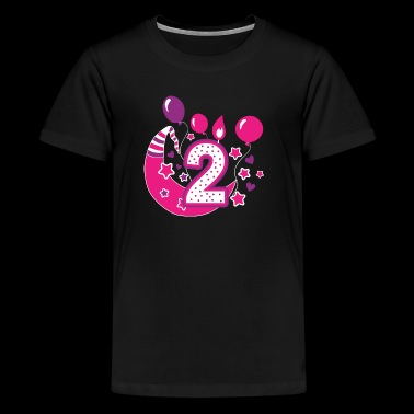 Second Birthday girl, gift two years girl, girl 2 - Kids' Premium T-Shirt