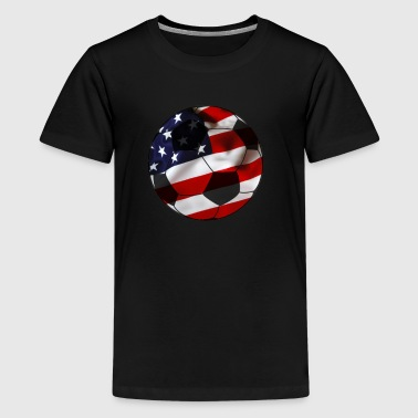 Cool USA Soccer Shirt American Flag Soccer Ball - Kids' Premium T-Shirt