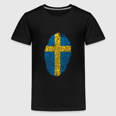 Sweden Swedish Identity Born in Fingerprint Gift - Kids' Premium T-Shirt