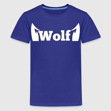 wolf in type with cute ears - Kids' Premium T-Shirt