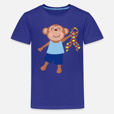 Autism Awareness Autism Puzzle Ribbon Kids Monkey - Kids' Premium T-Shirt