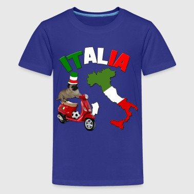 Italy Football World Cup Pug Dog - Kids' Premium T-Shirt