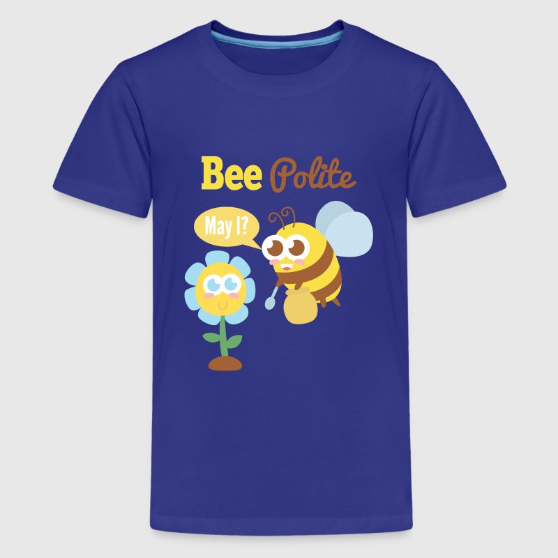Cartoon - A bee that is polite to a flower - Kids' Premium T-Shirt