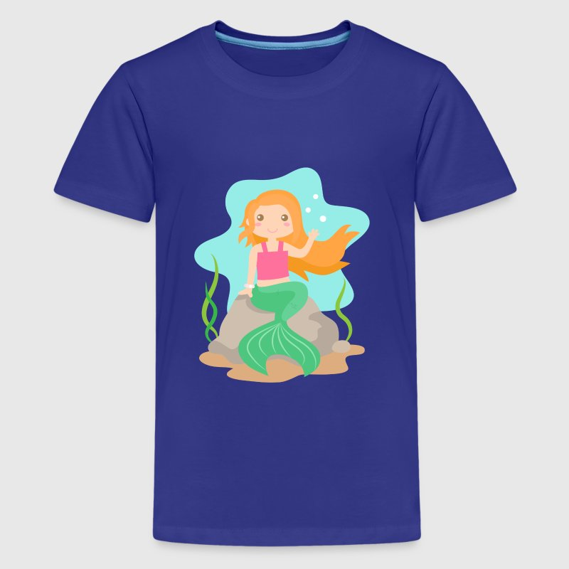 cute mermaid with orange hair under the sea - Kids' Premium T-Shirt