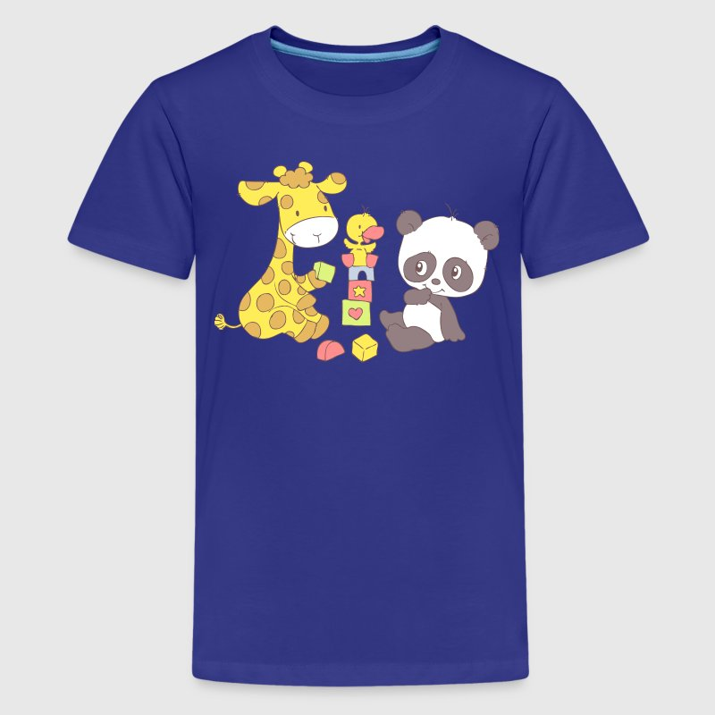 Giraffe and Panda playing with Blocks - Kids' Premium T-Shirt