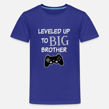 Leveled up to Big Brother Shirt Video Game Funny  - Kids' Premium T-Shirt