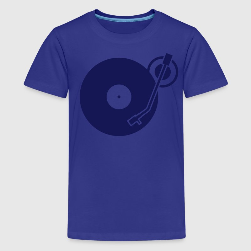headphones record disc platter disk dj record play techno minimal - Kids' Premium T-Shirt
