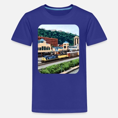 Freight Train Pittsburgh PA - Freight Train Going By Station Sq - Kids' Premium T-Shirt
