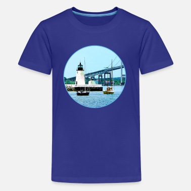 Harbour Bridge Lighthouse, Bridge and Boats, Newport, RI - Kids' Premium T-Shirt