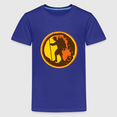 A hiker with backpack and trekking pole - Kids' Premium T-Shirt