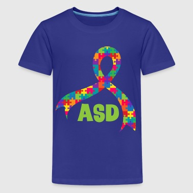 ASD Autism Puzzle Ribbon Support - Kids' Premium T-Shirt