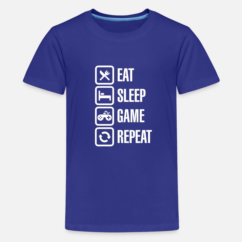 Addicted T-Shirts - Eat sleep game repeat - Kids' Premium T-Shirt royal blue