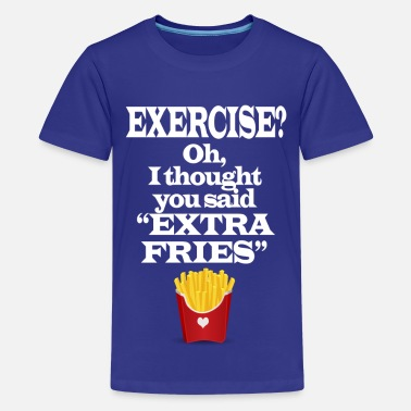 Gym Exercise Extra Fries Funny Gym Anti-Workout - Kids' Premium T-Shirt
