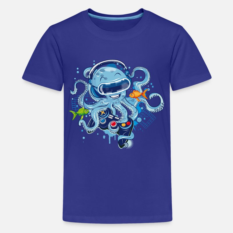 Nice T-Shirts - Octopus with gamepad and VR goggles - Kids' Premium T-Shirt royal blue