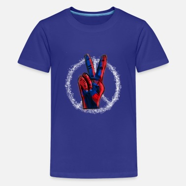 Red White And Blue Peace Symbol With Finger Sign Red White and Blue - Kids' Premium T-Shirt