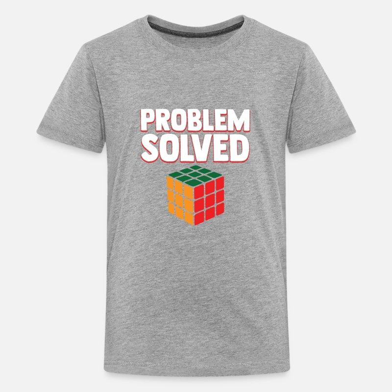 26fe21a65f20 Vintage Games - Rubiks Problem Solved Kids' Premium T-Shirt - heather gray