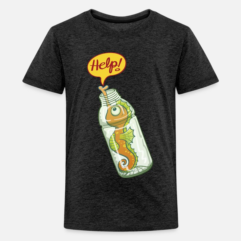 75ba1597e Seahorse trapped in plastic bottle asking for help Kids' Premium T-Shirt |  Spreadshirt
