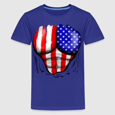 America Flag Ripped Muscles, six pack, chest t-shirt - Kids' Premium T-Shirt