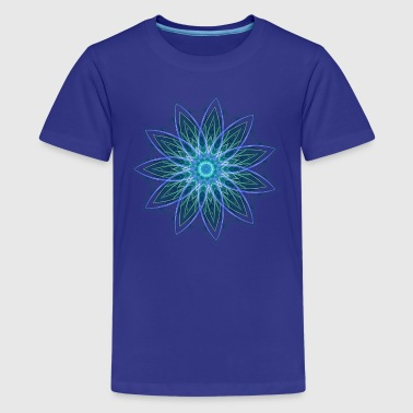 Fractal Flower Blue Geometric Art - Kids' Premium T-Shirt