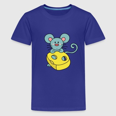 cute blue mouse with cheese - Kids' Premium T-Shirt
