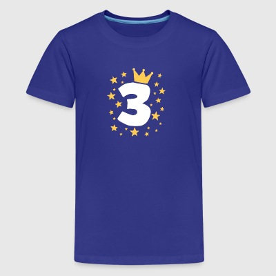 Kids Birthday 3 Year Boy King Girl Princess Crown - Kids' Premium T-Shirt