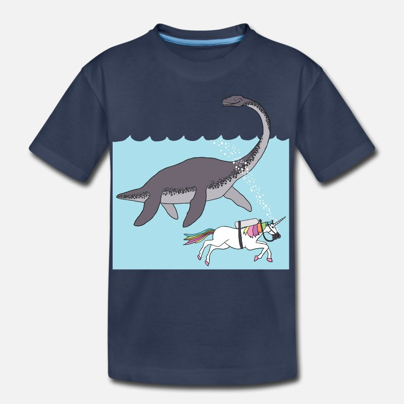 Diver T-Shirts -  unicorn swimming with loch ness monster - Kids' Premium T-Shirt navy