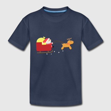 Merry Christmas with Cute Santa and Reindeer - Kids' Premium T-Shirt