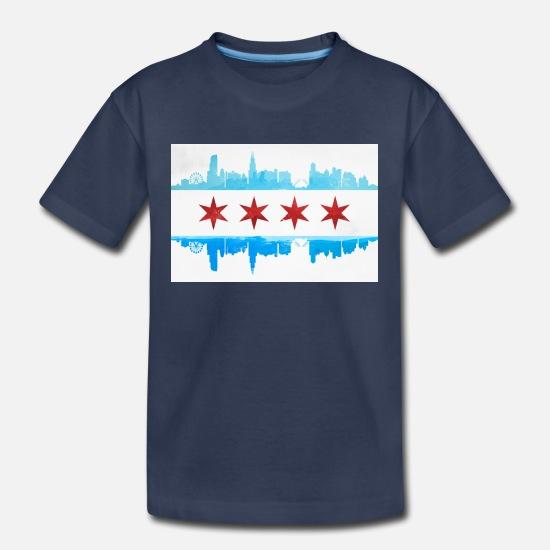 9959c56f1 Chicago T-Shirts - CHICAGO SKYLINE FLAG - Kids' Premium T-Shirt navy