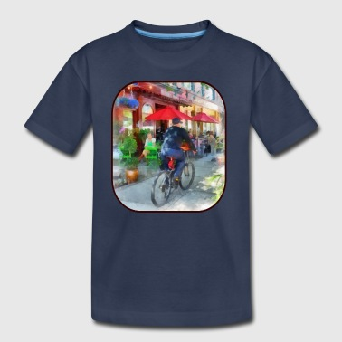 Hoboken NJ - Riding Past the Cafe - Kids' Premium T-Shirt