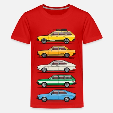 Retro Stack of VAG B1 VDubs and Four Rings - Kids' Premium T-Shirt