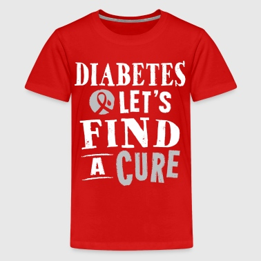 Diabetes Ribbon Cure Slogan Support - Kids' Premium T-Shirt