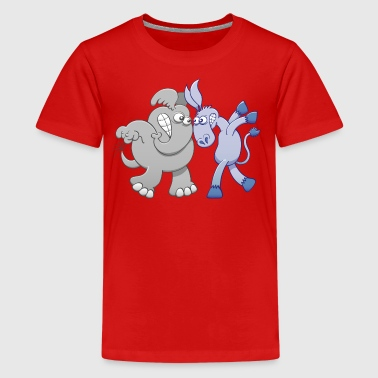 Elephant and Donkey Face to Face - Kids' Premium T-Shirt