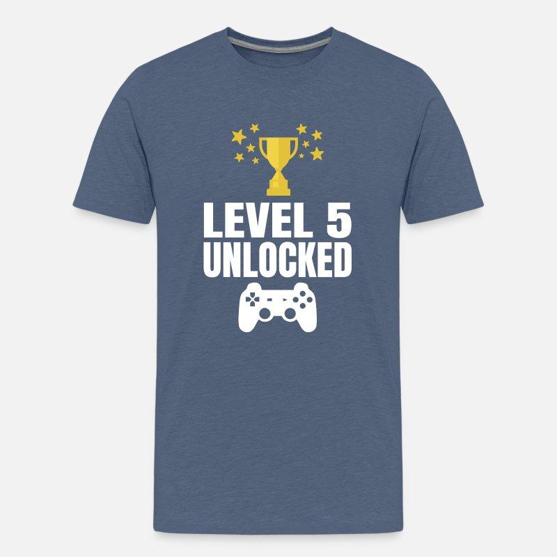 Level 5 Unlocked Gaming Gamer 5th Birthday Shirt Kids Premium T