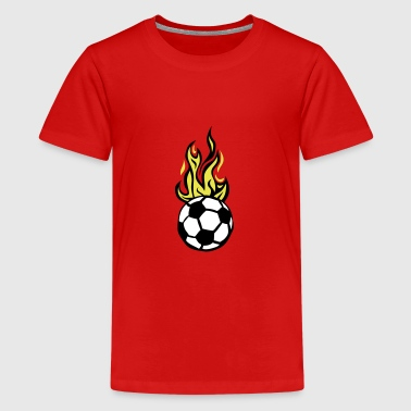 soccer ball flame fire flame cartoon - Kids' Premium T-Shirt