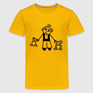 Boy with stuffed animals - Kids' Premium T-Shirt