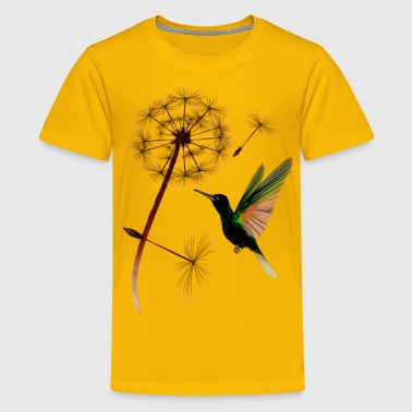 Flowers Dandelion and Hummingbird - Kids' Premium T-Shirt