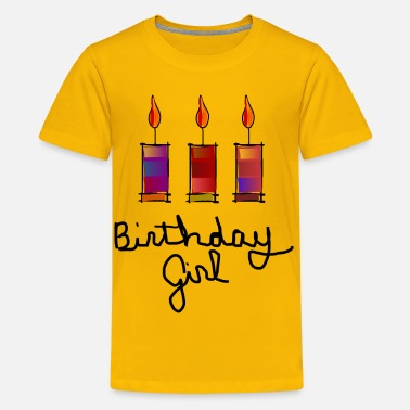 Birthday Birthday Girl With 3 Multi-Color Candles--DIGITAL DIRECT PRINT - Kids' Premium T-Shirt