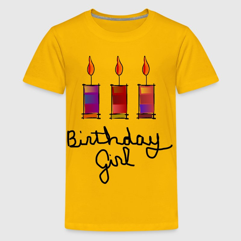 Birthday Girl With 3 Multi-Color Candles--DIGITAL DIRECT PRINT - Kids' Premium T-Shirt