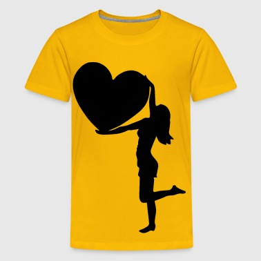 Woman With Big Heart Silhouette - Kids' Premium T-Shirt