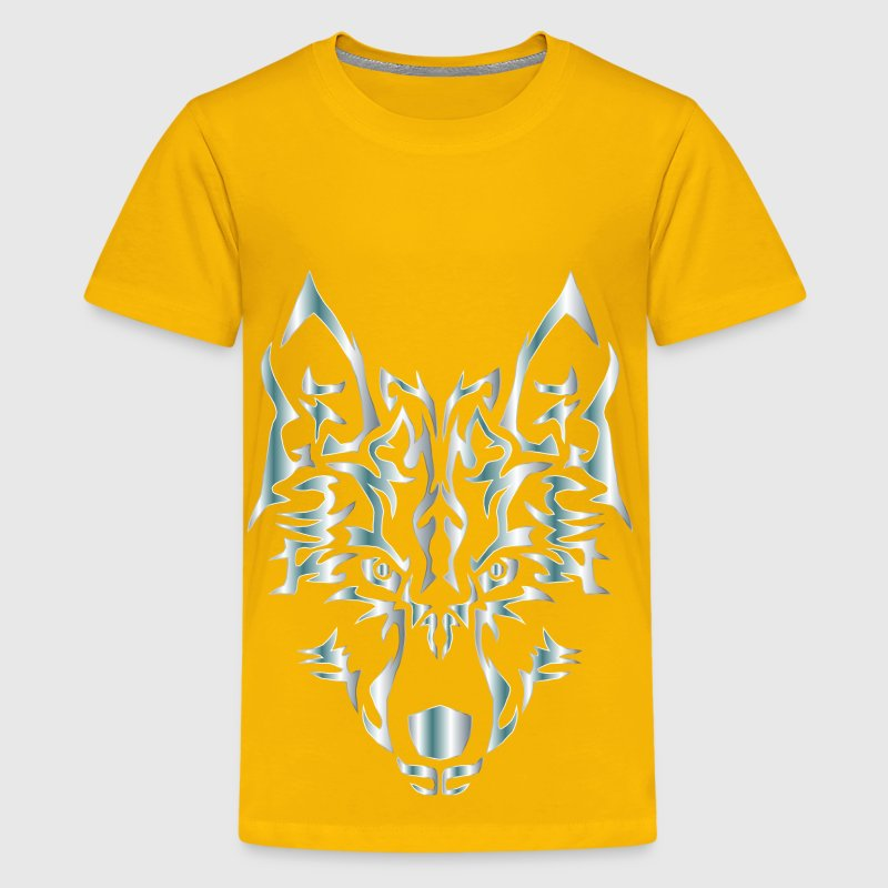Silver Symmetric Tribal Wolf No Background - Kids' Premium T-Shirt