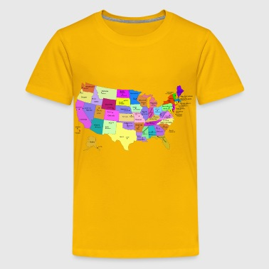 United States Map With Capitals (Fixed) - Kids' Premium T-Shirt