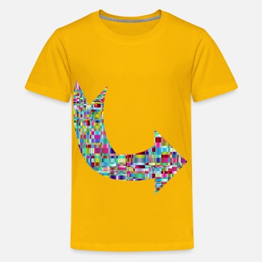 Crystalline Chromatic Checkered Crystalline Curved Arrow - Kids' Premium T-Shirt