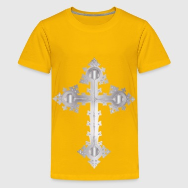 Platinum Ornate Cross No Background - Kids' Premium T-Shirt