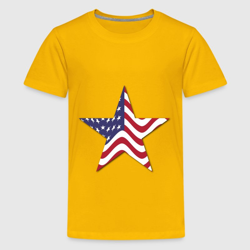 American Flag Star With Drop Shadow - Kids' Premium T-Shirt