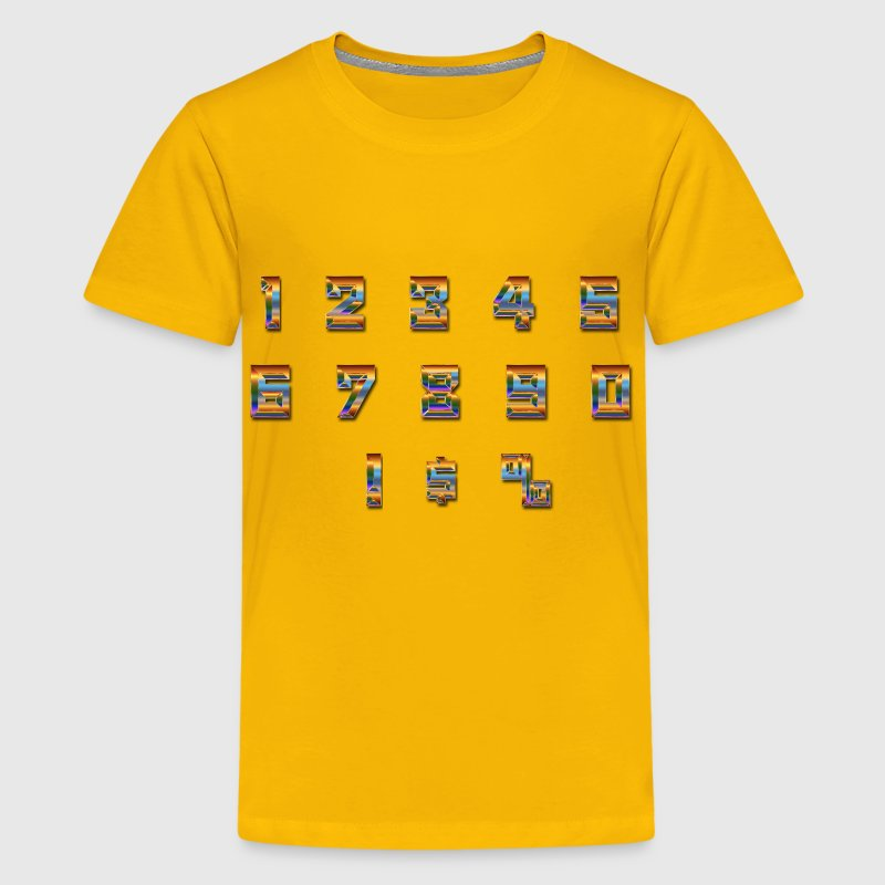 Chromatic Numbers Set With Drop Shadow - Kids' Premium T-Shirt