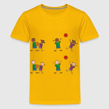 Multicultural Kids Playing Sports - Kids' Premium T-Shirt