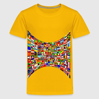 World Flag Buttons Perspective - Kids' Premium T-Shirt